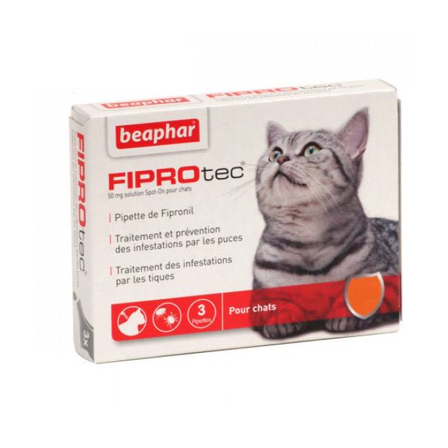 Beaphar Fiprocat pipettes antiparasitaires pour chat FiproTec + 1 kg (6 pipettes 0.50 ml)