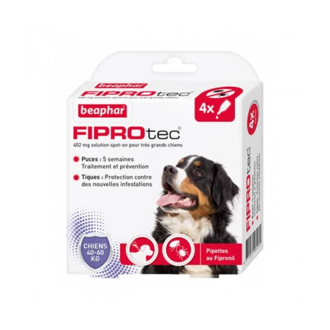 Beaphar Fiprodog pipettes antiparasitaires pour chien FiproTec 40 à 60 kg (402 mg)