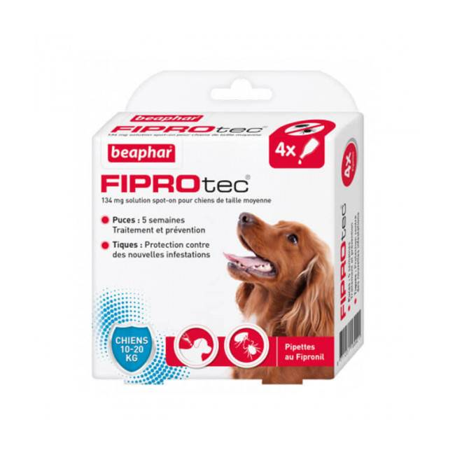 Beaphar Fiprodog pipettes antiparasitaires pour chien FiproTec 10 à 20 kg (34 mg)