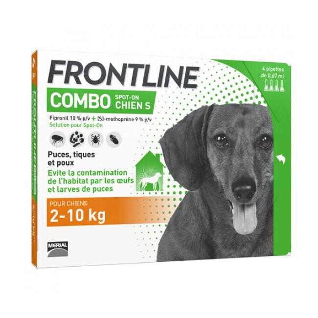 Frontline anti puce et tique Spot On Combo pour chien 2 à 10 kg (4 pipettes 0.67 ml)