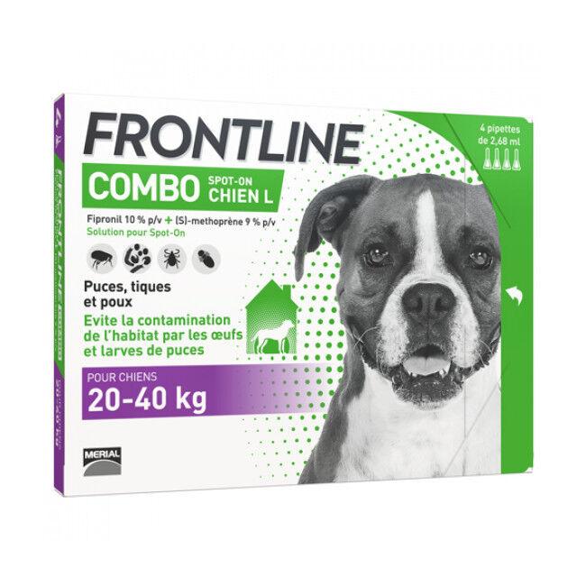 Frontline anti puce et tique Spot On Combo pour chien 20 à 40 kg (4 pipettes 2.68 ml)