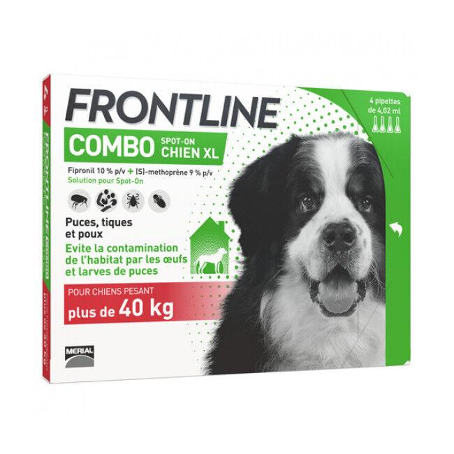 Frontline anti puce et tique Spot On Combo pour chien 40 à 60 kg (4 pipettes 4.02 ml)