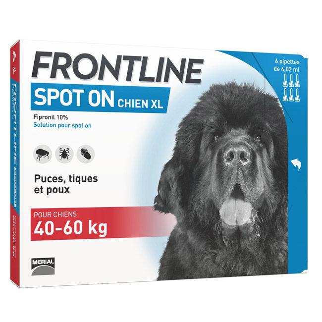 Frontline Spot on Anti puce et tique pour chien 40 à 60 kg (pack 4 pipettes 4,20 ml)