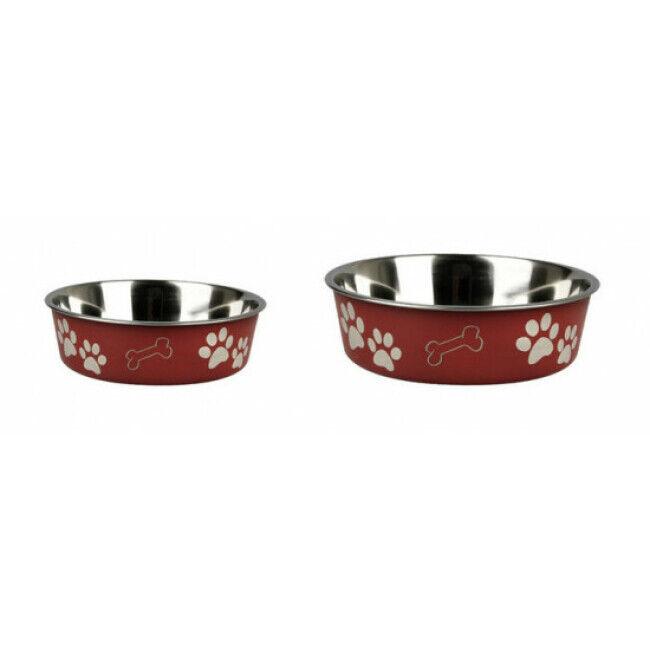 Karlie Gamelle rouge en acier inox anti-dérapante avec motifs Karlie pour chiens Diamètre 14 cm Contenance 500 ml