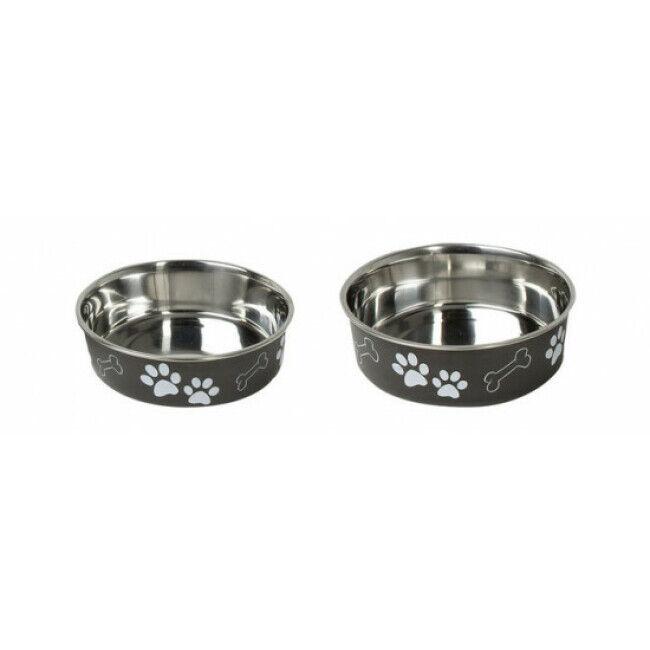 Karlie Gamelle en acier inox pour chien et chat avec motifs et anti-dérapante Karlie noire Diamètre 14 cm Contenance 500 ml