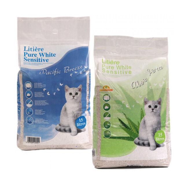 Polytrans Litière pure white sensitive pour chat sac de 15 litres Aloe-Vera