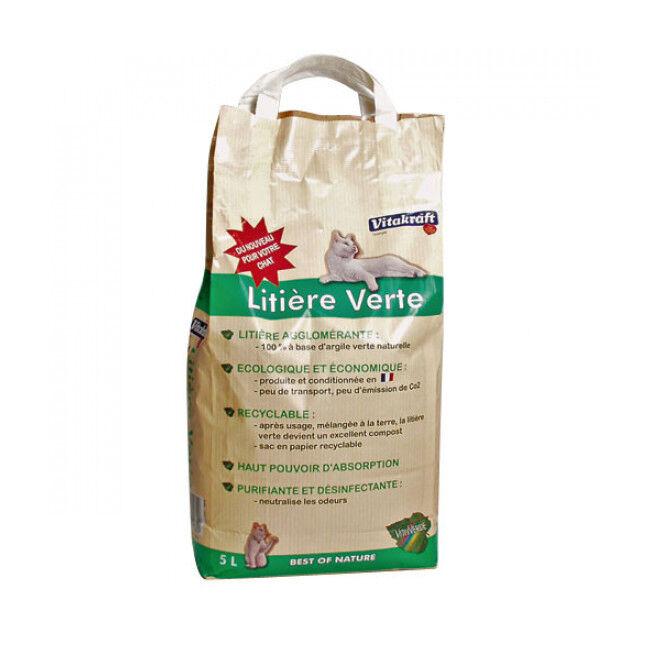 Vitakraft Litière verte à l'argile pour chat Vitakraft - Lot de 4 sacs de 5 litres (20 L)