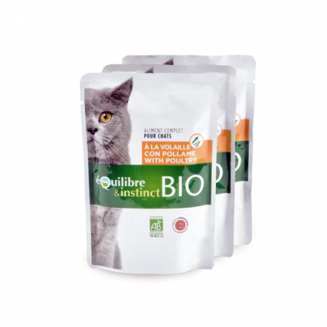 Equilibre & Instinct Mitonné bio pour chat adulte Equilibre et Instinct volaille 22 sachets de 100 g