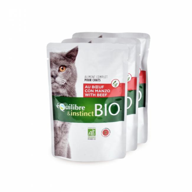 Equilibre & Instinct Mitonné bio pour chat adulte Equilibre et Instinct boeuf 22 sachets de 100 g