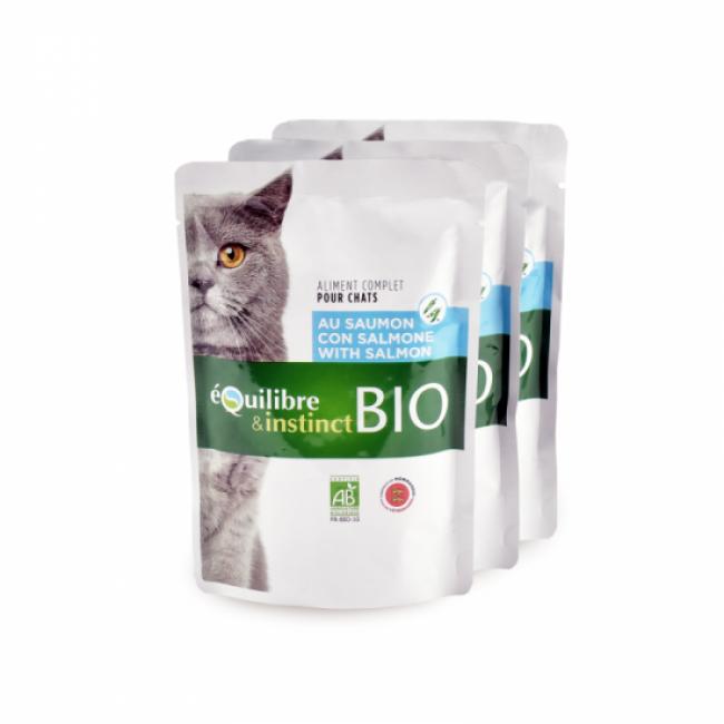 Equilibre & Instinct Mitonné bio pour chat adulte Equilibre et Instinct Saumon 22 sachets de 100 g