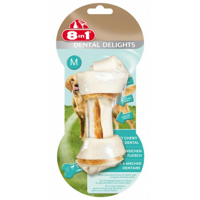 8in1 Os à mâcher pour chien Dental Delight 8 in 1 au poulet Taille M - Une pièce (DLUO 3 mois) (DLUO 3 mois)
