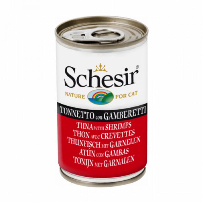 Schesir Pâtée en gelée pour chat Schesir - Boîte 140 g Thon avec crevettes