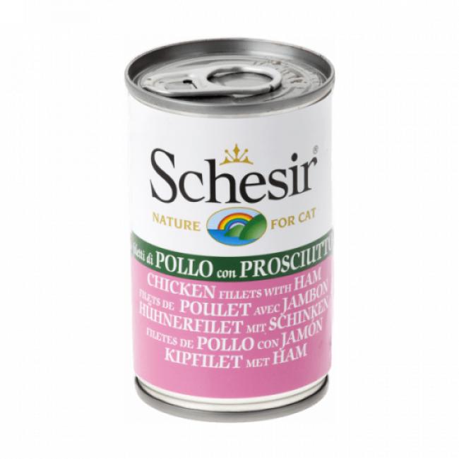 Schesir Pâtée en gelée pour chat Schesir - Boîte 140 g Filets de poulet avec jambon