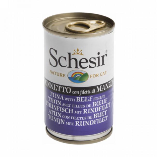 Schesir Pâtée en gelée pour chat Schesir - Boîte 140 g Thon avec filets de boeuf