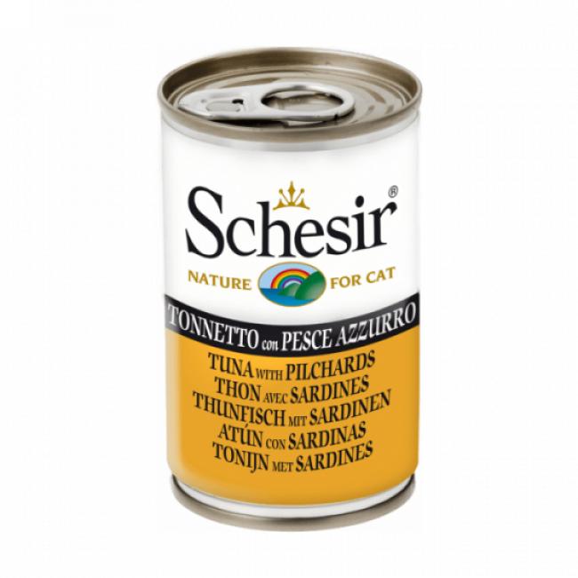 Schesir Pâtée en gelée pour chat Schesir - Boîte 140 g Thon avec sardines