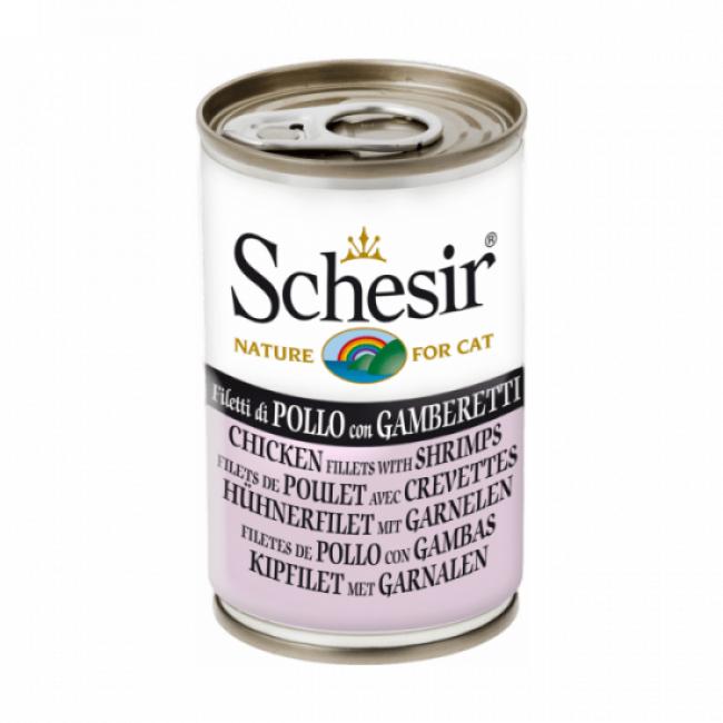 Schesir Pâtée en gelée pour chat Schesir - Boîte 140 g Poulet avec crevettes