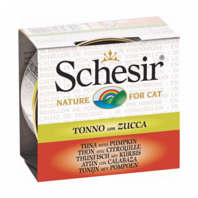 Schesir Pâtée pour chat Schesir avec bouillon - Boîte 70 g Thon avec citrouille