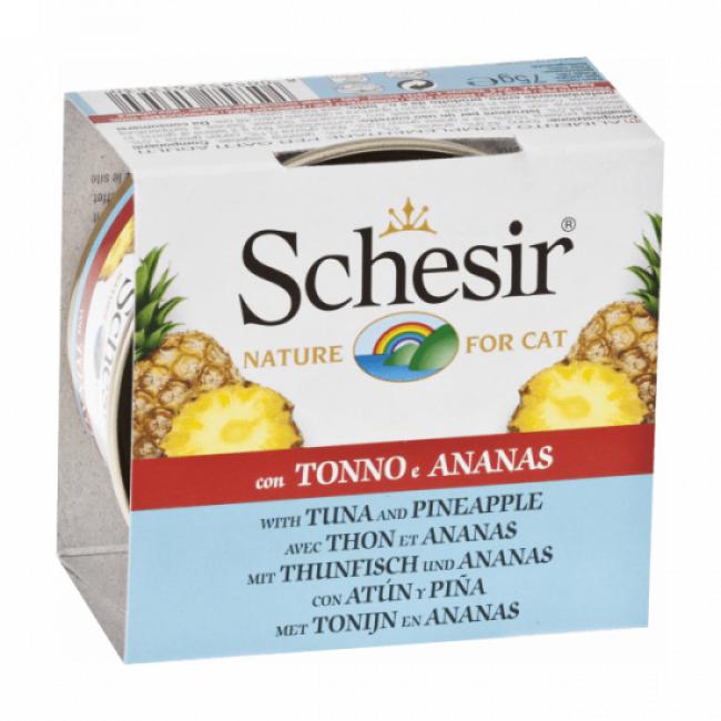 Schesir Pâtée pour chat Schesir avec morceaux de fruits - Boîte 75 g Thon avec ananas