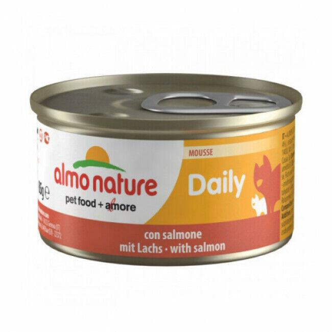 Almo Nature Pâtée pour chat Daily Menu Almo Nature - lot 6 boîtes 85 g Mousse avec saumon