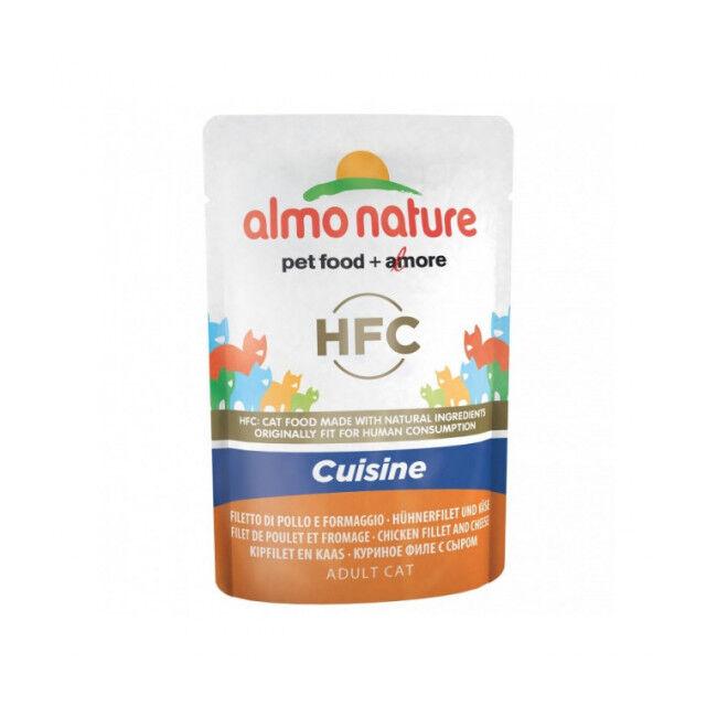 Almo Nature Pâtée pour chat HFC Cuisine Almo Nature - Lot de 6 pochons 55 g Filet de poulet et fromage
