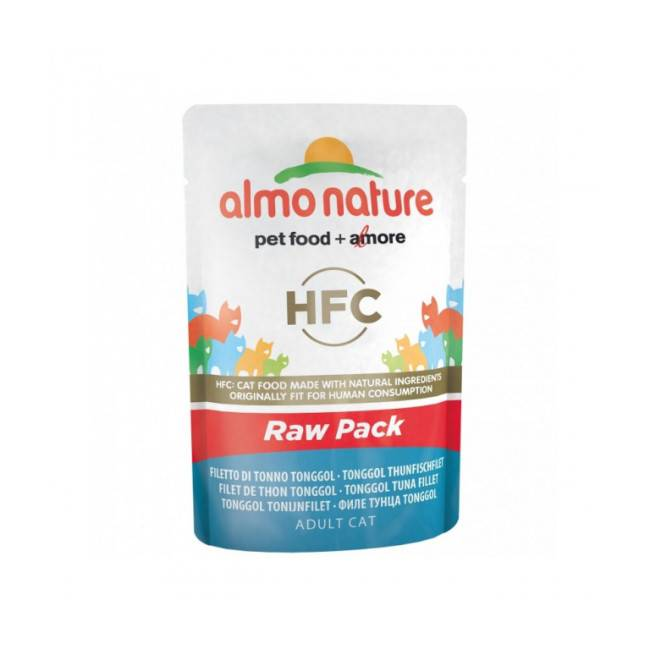 Almo Nature Pâtée pour chat HFC Raw Pack Almo Nature - Lot de 6 pochons 55 g Filet de thon Skip Jack