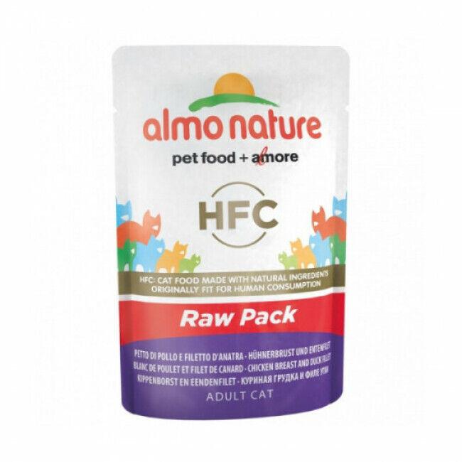 Almo Nature Pâtée pour chat HFC Raw Pack Almo Nature - Lot de 6 pochons 55 g Blanc de poulet et filet de canard