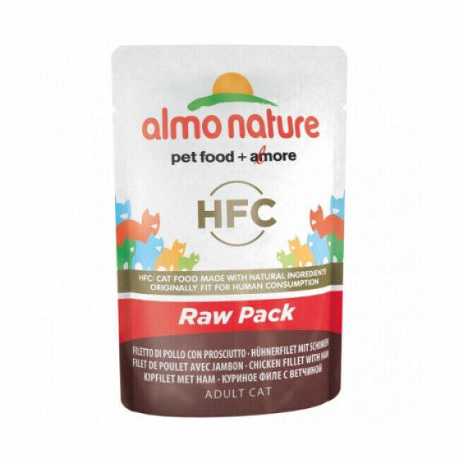 Almo Nature Pâtée pour chat HFC Raw Pack Almo Nature - Lot de 6 pochons 55 g Filet de poulet avec jambon