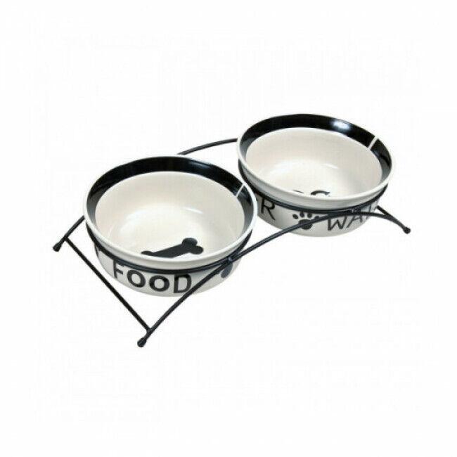 Trixie Set écuelles en céramique Blanc et Noir avec pieds anti-dérapants Eat on Feet 2 pièces Contenance 1,6 litres Diamètre 20 cm