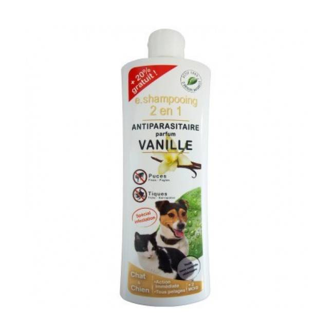 Agecom Shampoing antiparasitaire pour chien et chat vanille Essential 2 en 1 Agecom flacon 250 ml