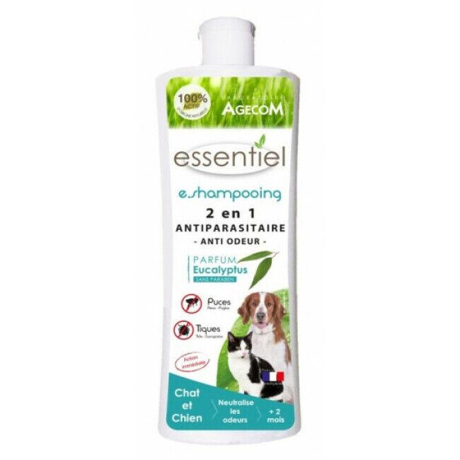 Agecom Shampoing antiparasitaire pour chien et chat 2 en 1 anti odeur Essential Agecom flacon 250 ml