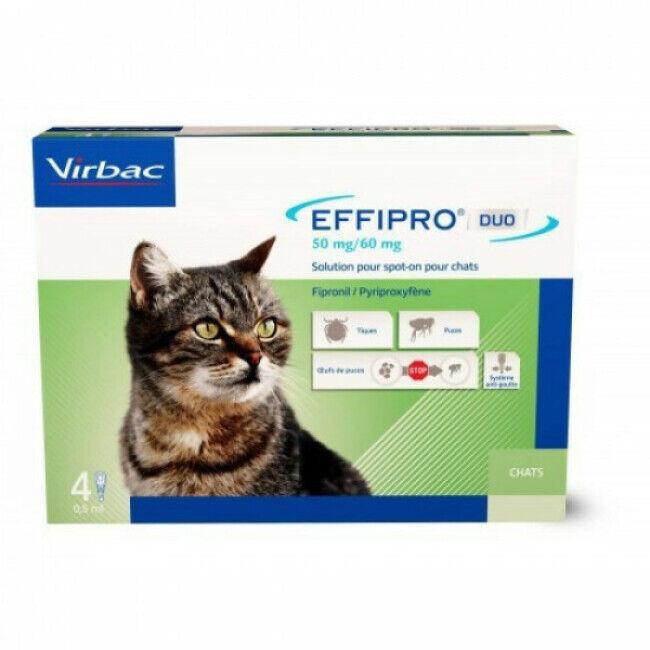 Virbac Soin antiparasitaire pour chats Effipro Boîte de 4 Pipettes