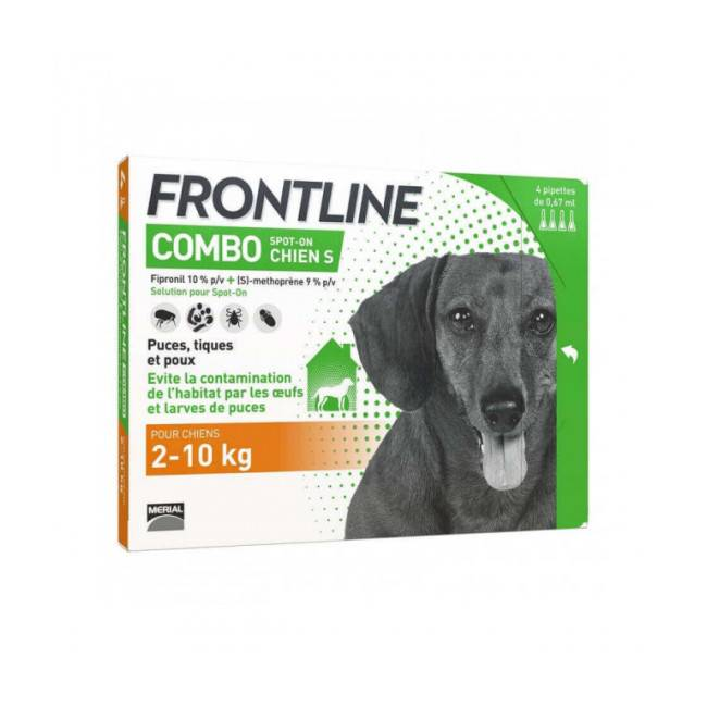 Frontline Soin antiparasitaire pour chien Combo Spot On Frontline 2/10 kg Boîte 6 Pipettes