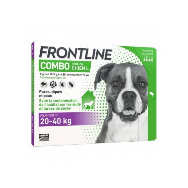 Frontline Soin antiparasitaire pour chien Combo Spot On Frontline 20/40 kg Boîte 6 Pipettes