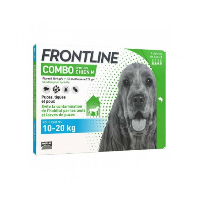 Frontline Soin antiparasitaire pour chien Combo Spot On Frontline 10/20 kg Boîte 6 Pipettes