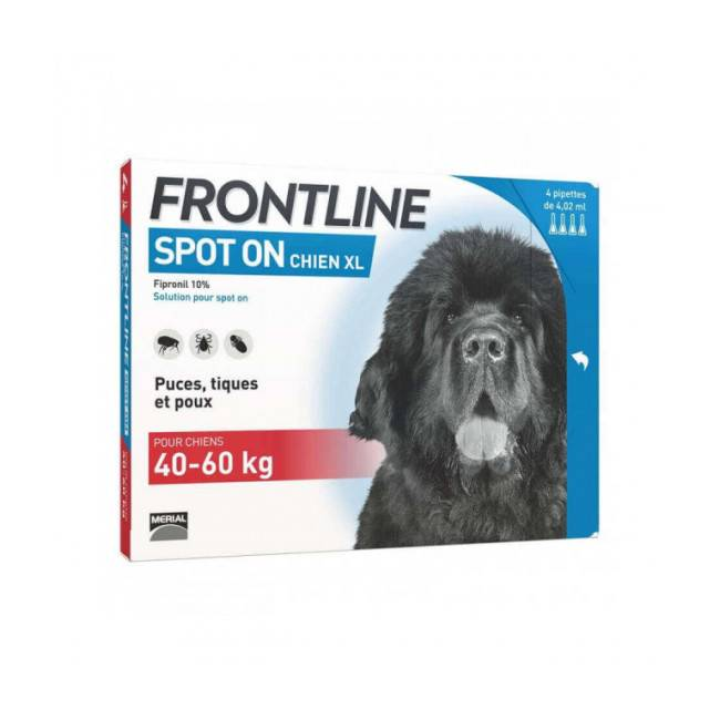 Frontline Soin antiparasitaire pour chiens Spot On Frontline 40/60 kg Boîte 6 Pipettes