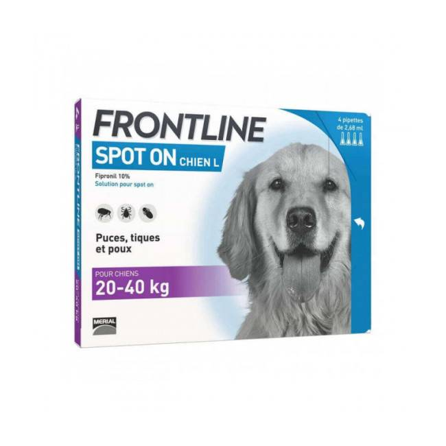 Frontline Soin antiparasitaire pour chiens Spot On Frontline 20/40 kg Boîte 6 Pipettes