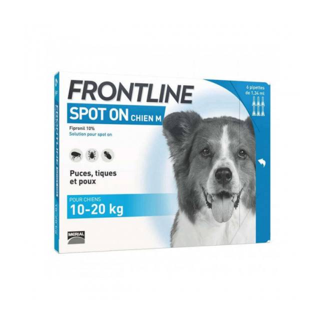 Frontline Soin antiparasitaire pour chiens Spot On Frontline 10/20 kg Boîte 6 Pipettes