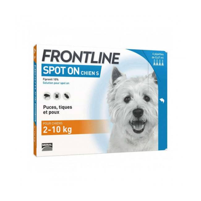 Frontline Soin antiparasitaire pour chiens Spot On Frontline 2/10 kg Boîte 6 Pipettes