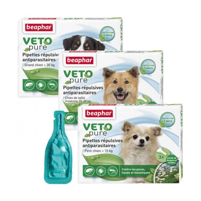 Beaphar Spot On Véto-Nature insectifuge pour chien plus 30 kg (6 pipettes 2 ml)