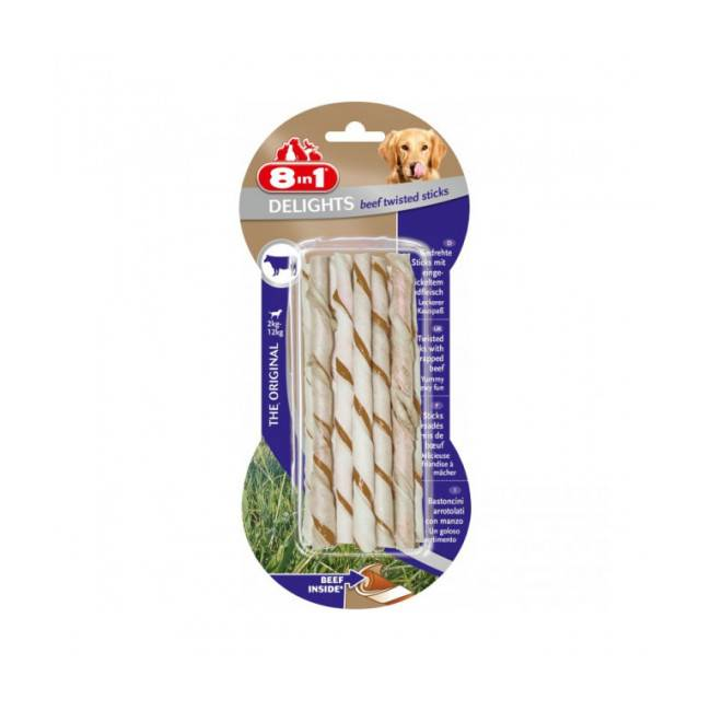 8in1 Sticks à mâcher delights Twisted 8 in 1 Lot de 10 pièces Saveur Boeuf