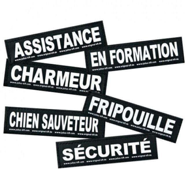 """JULIUS-K9 Stickers Velcro pour harnais Julius-K9 pour chien """"Sécurité"""" Lot de 2 (16 x 5 cm)"""