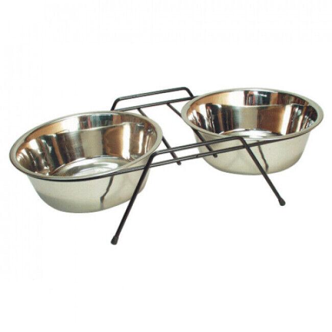 Trixie Set écuelles en acier inox avec pieds anti-dérapants Eat on Feet 2 pièces Contenance 1,8 litre Diamètre 20 cm