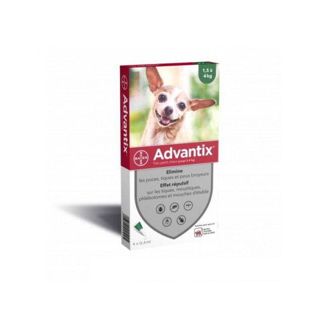 Bayer Advantix traitement anti tiques et puces pour chien Spot On Chien 1,5 à 4 kg (6 pipettes 0.4 ml)