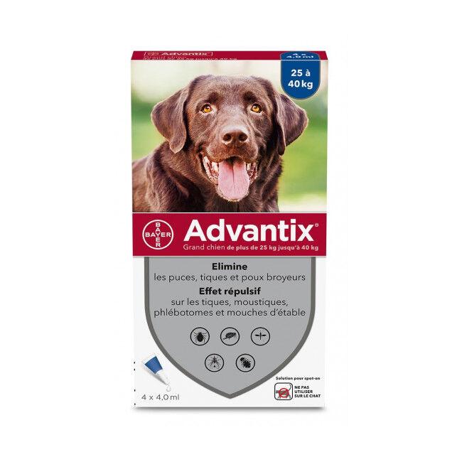 Advantix traitement anti tiques et puces pour chien Spot On Chien 25 à 40 kg (4 pipettes 4 ml)