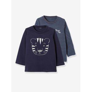 Vertbaudet Lot de 2 T-shirts bébé garçon manches longues motif animal lot encre