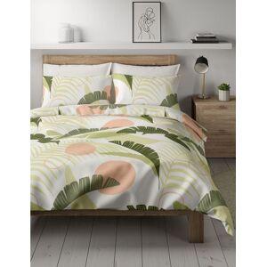 Marks & Spencer Parure de lit en coton mélangé à imprimé palmier - Blanc - Lit double (140 cm x 200 cm)