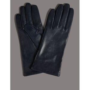 Marks & Spencer Gants en cuir avec doublure en cachemire - Bleu - L