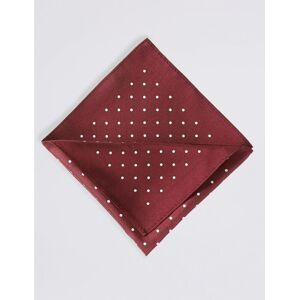 Marks & Spencer Carré de poche 100% soie à imprimé pois - Rouge-marron