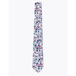 Marks & Spencer Ensemble mouchoir et cravate fine à motif fleuri tissé - Rose