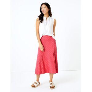 Marks & Spencer Jersey Polka Dot Midi Fit & Flare Skirt - Corail - 36